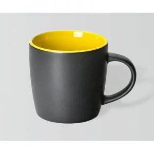 Boston Matte Black/Yellow Mug