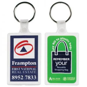 White Rectangular Soft PVC Keyring
